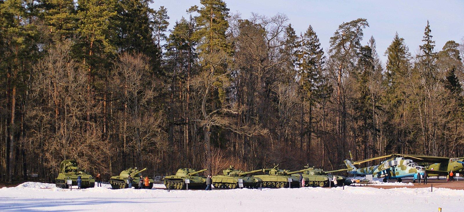 Общий вид на линейку танков